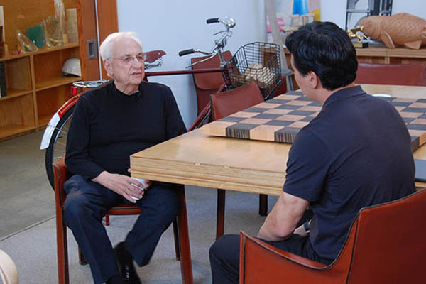Stephen interviewing the world's most famous architect, Frank Gehry